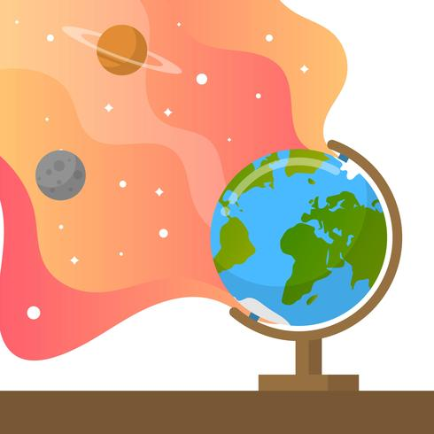 490x490 Flat Globe With Gradient Background Vector Illustration