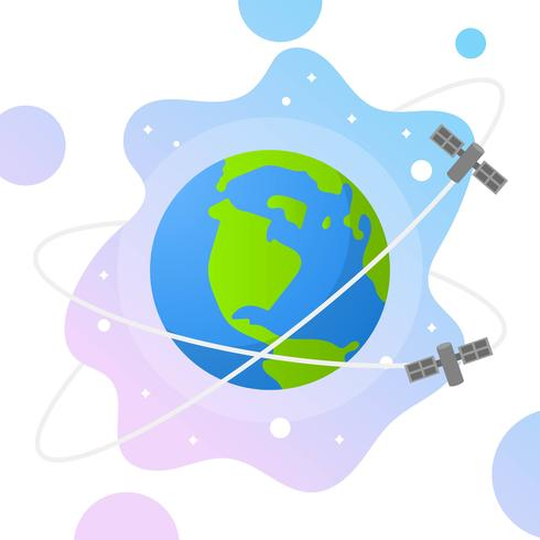 490x490 Flat Globe With Gradient Space And Satelite Background Vector