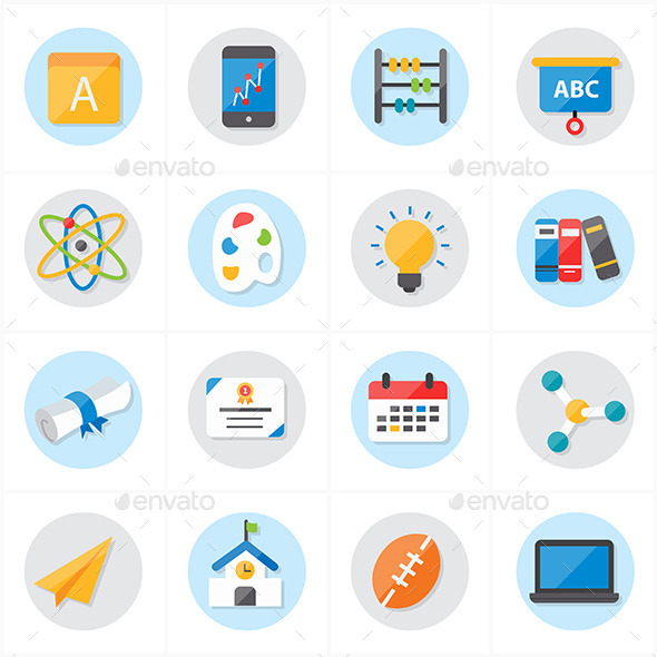 590x590 Flat Icons For School And Education Vector By Karawan Graphicriver