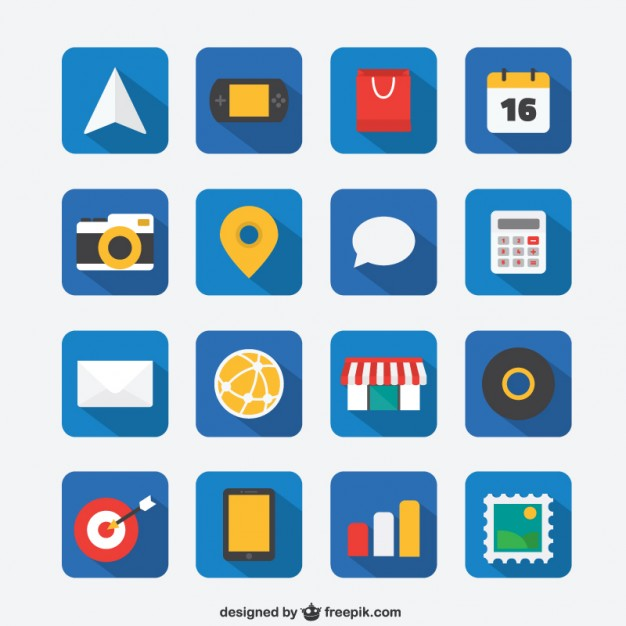 626x626 Flat Icon Set For Web And Mobile App Vector Free Download