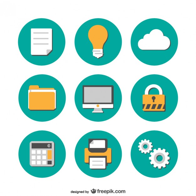 626x626 Office Flat Icons Collection Vector Free Download