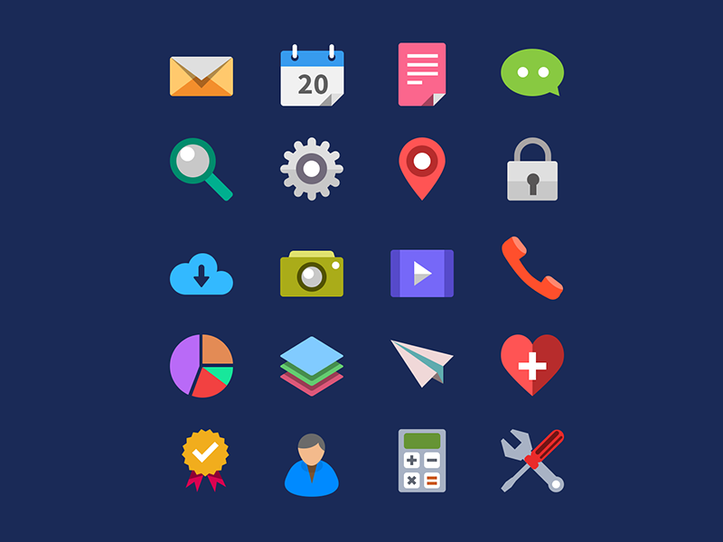 800x600 20 Flat Icons Vector Psd By Graphicsfuel (Rafi)