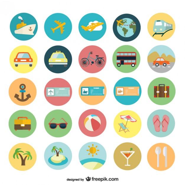 626x626 Summer Holiday Flat Icons Vector Free Download