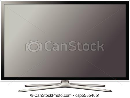 450x339 Vector Modern Television Screen On White Background. Modern Blank