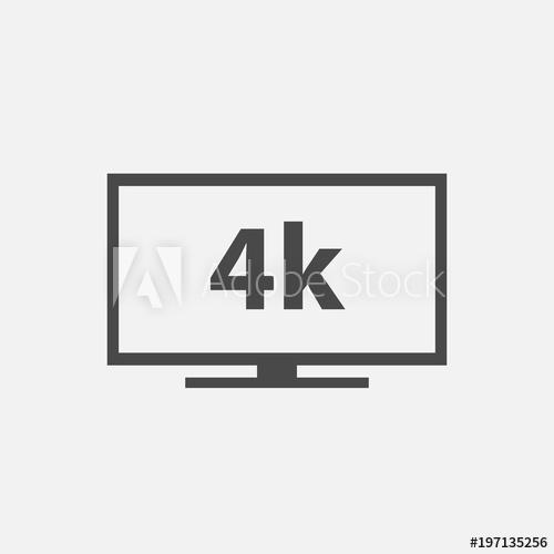 500x500 4k Flat Screen Tv Vector Icon Smart Television Set