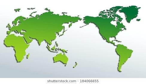 488x280 Vector Flat World Map With Pacific Ocean Planet Earth Background