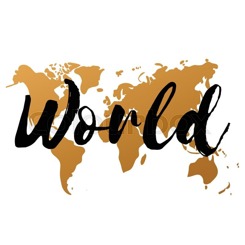 800x800 Vector Gold World Map On White Background, Doodle. World Map