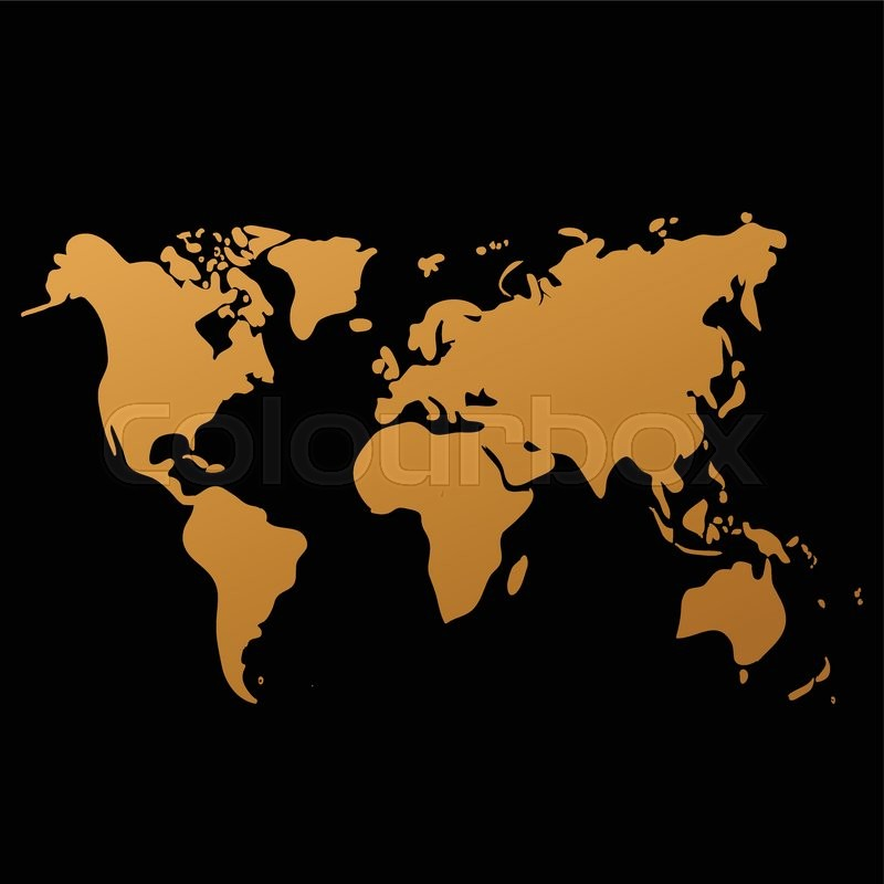 800x800 Vector World Map On Black Background, Doodle. World Map Vector