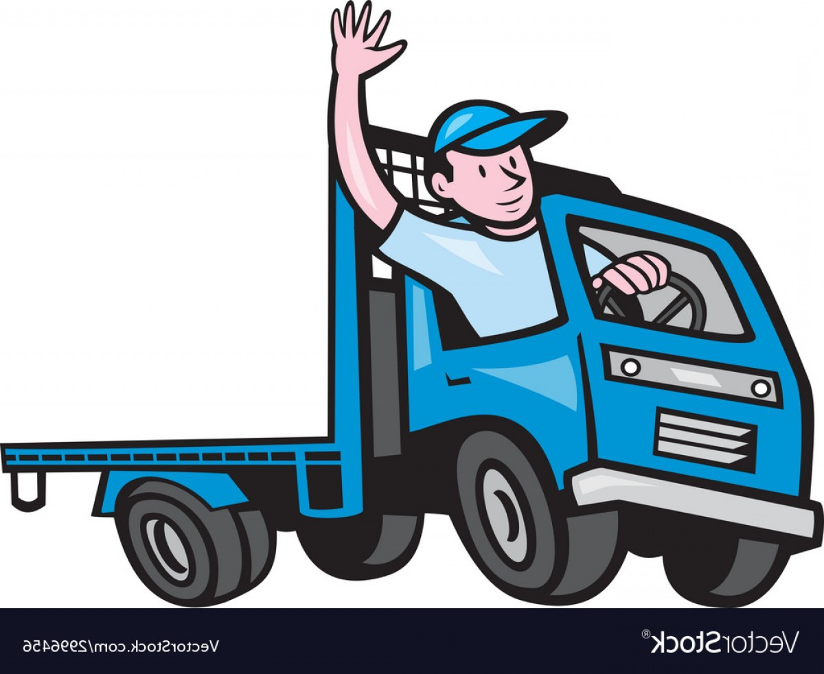 1200x982 Flatbed Truck Driver Waving Cartoon Vector Lazttweet