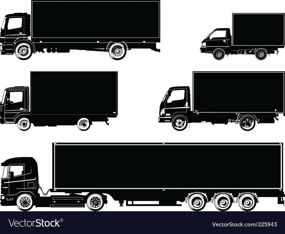 1000x823 Flatbed Truck Silhouette Vector 1595683 18