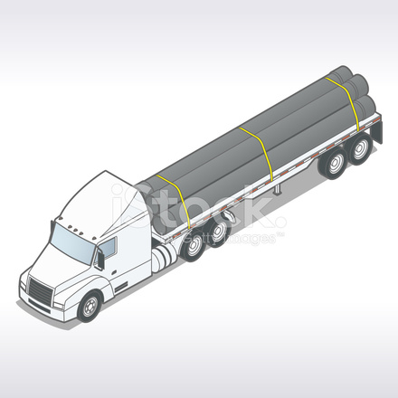 440x440 Flatbed Truck With Pipes Illustration Stock Vector
