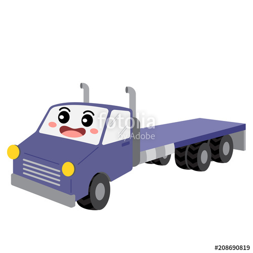500x500 Flatbed Truck Transportation Cartoon Character Perspective View