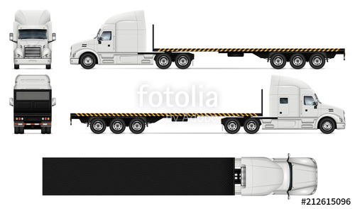 500x295 Flatbed Truck Realistic Vector Illustration Stock Image And