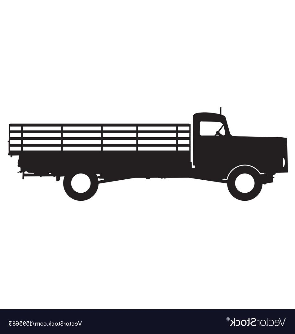 952x1080 Hd Flatbed Truck Silhouette Vector Design