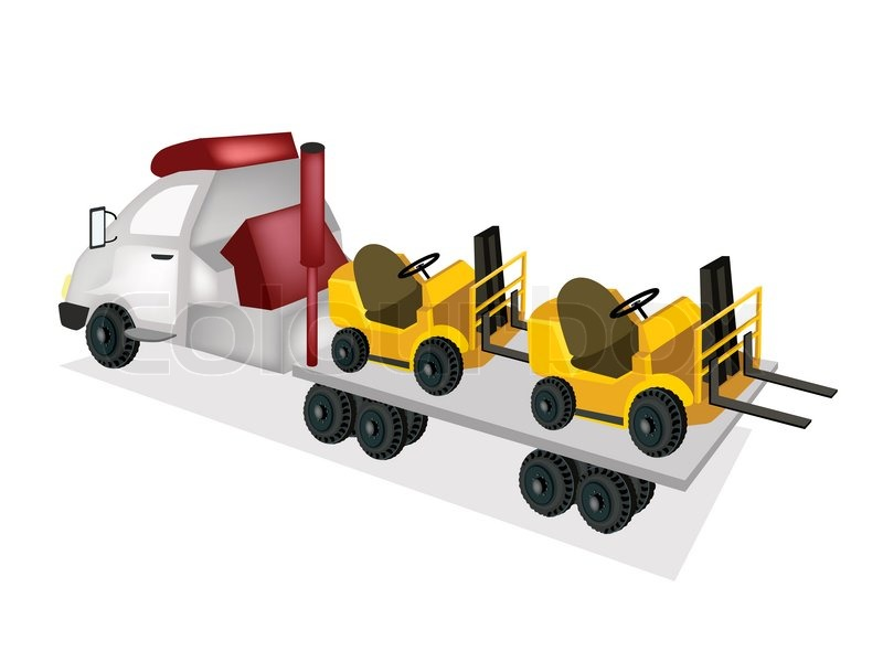 800x600 Tractor Trailer Flatbed Loading Two Forklift Trucks Stock Vector