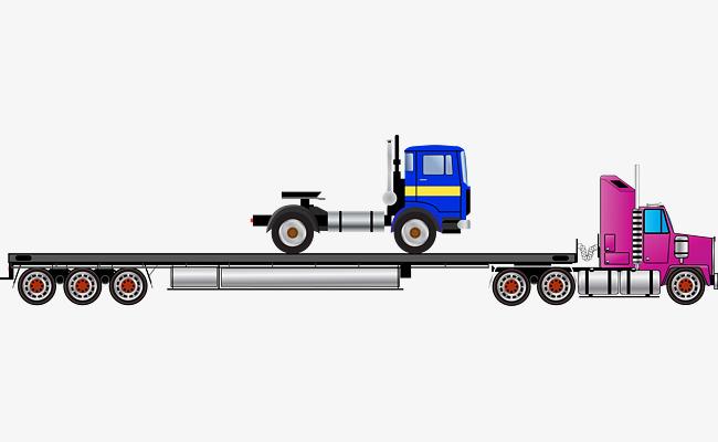 650x400 Tractor Trailer Flatbed Truck Vector, Truck Clipart, Vector