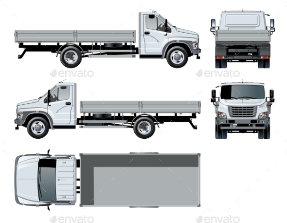 590x458 Vector Flatbed Truck Template Isolated On White By Mechanik