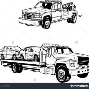 300x300 Flat Bed Truck Line Icon Vector Lazttweet