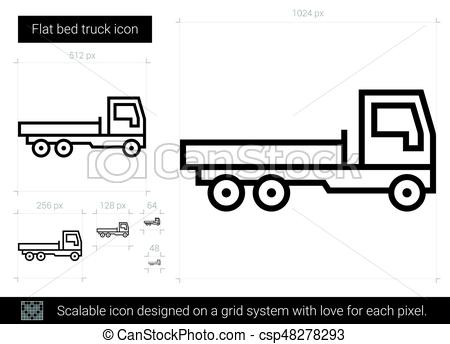 450x344 Flat Bed Truck Line Icon. Flat Bed Truck Vector Line Icon Isolated
