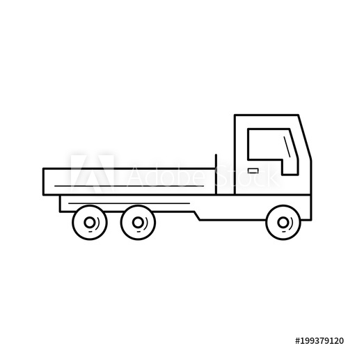 500x500 Flat Bed Truck Vector Line Icon Isolated On White Background. Flat