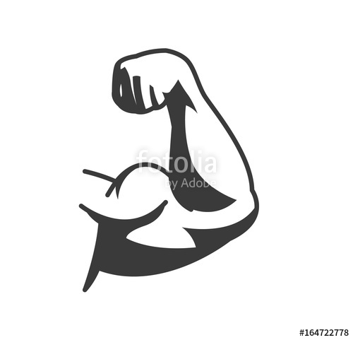 500x481 Bodybuilder Muscle Flex Arm. Strong Macho Biceps Gym Flexing Hand