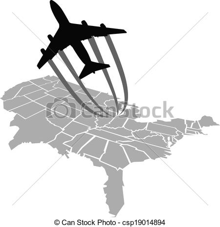 450x463 Flight Over America. A Cartoon Jet Flies Over A Map Of The United