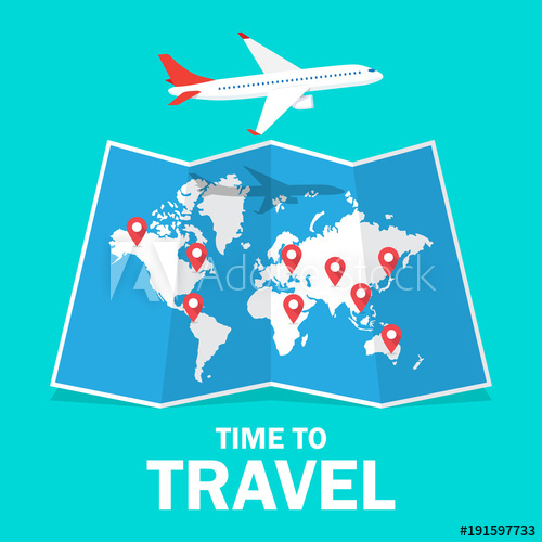 500x500 Travel And Tourism. Airplane Flying Above The Map
