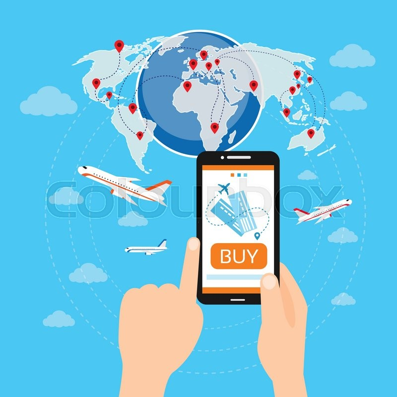 800x800 Buy Ticket Online Smart Phone Application Globe World Map Travel