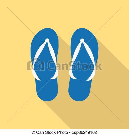 450x470 Vector Pair Of Blue Summer Flip Flops. Beach Sneakers Summer