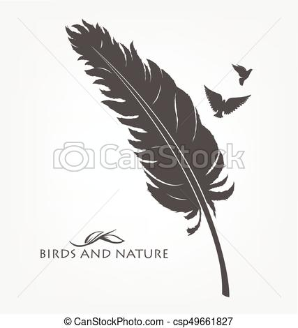 427x470 Feather With Flying Flock Of Birds. Feathers With Flying Flock Of