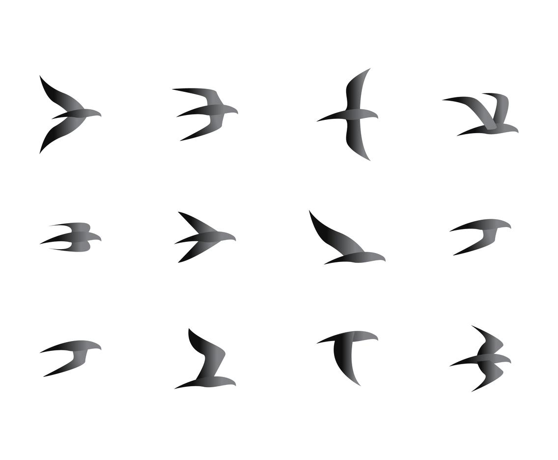 1136x936 Flock Of Black Birds Vectors Vector Art Amp Graphics