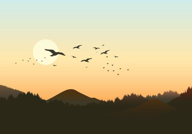 632x442 Free Forest Landscape With Flock Of Birds Vector Free Vector