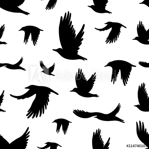 500x500 Seamless Pattern With Flock Of Birds. Vector Illustration For