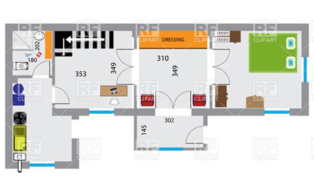 640x400 House Floor Plan Vector Image Vector Artwork Of Architecture