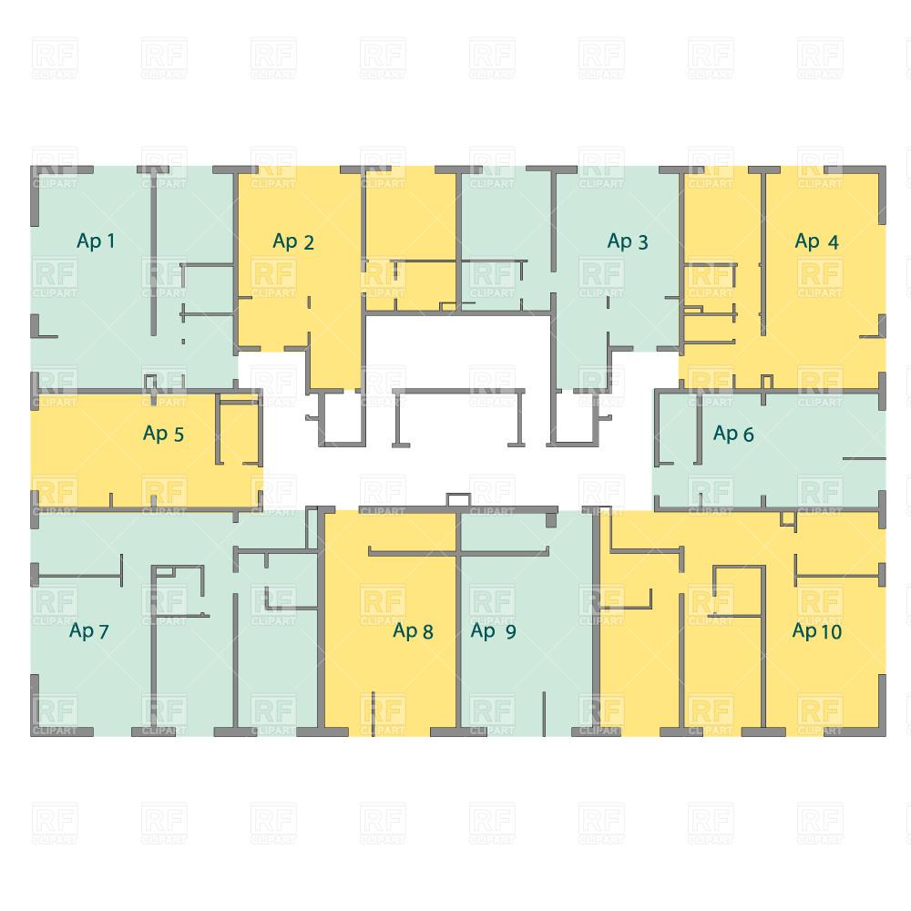 1000x1000 Building Floor Plan, Blueprint Vector Image Vector Artwork Of