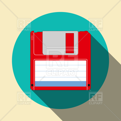 400x400 Floppy Disk Flat Icon With Shadow Vector Image Vector Artwork Of