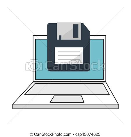 450x470 Color Silhouette With Laptop And Floppy Disk Vector Illustration.