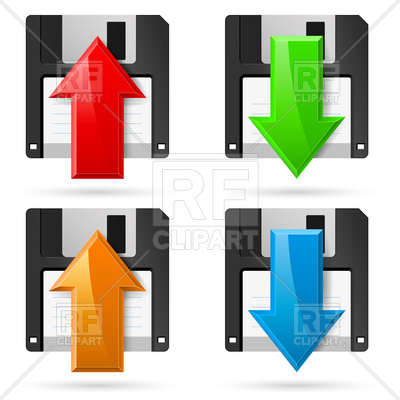 400x400 Floppy Disk Icons With Arrow Vector Image Vector Artwork Of