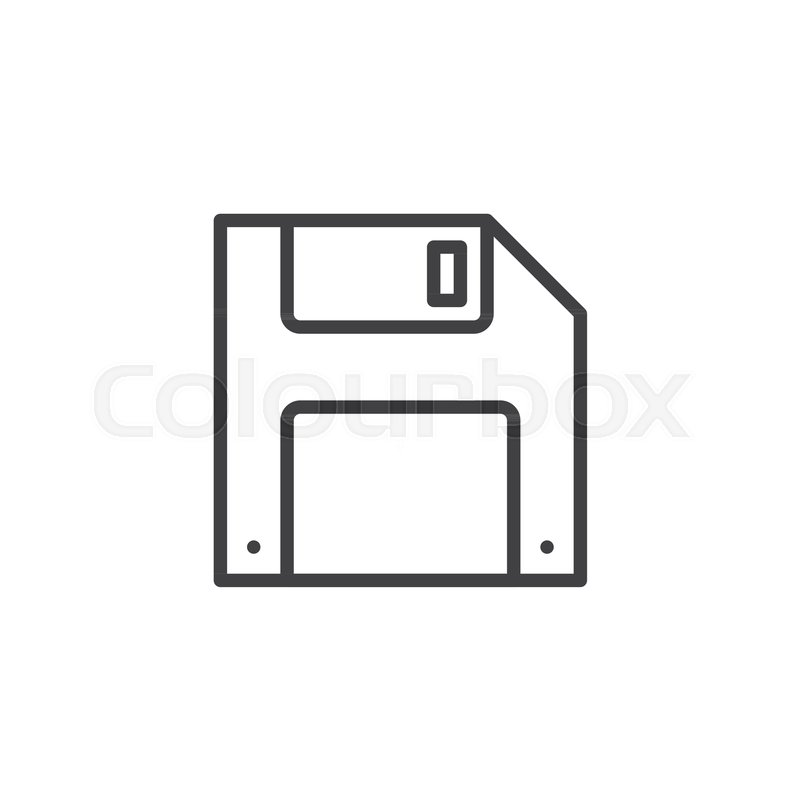 800x800 Floppy Disk Line Icon, Outline Vector Sign, Linear Style Pictogram
