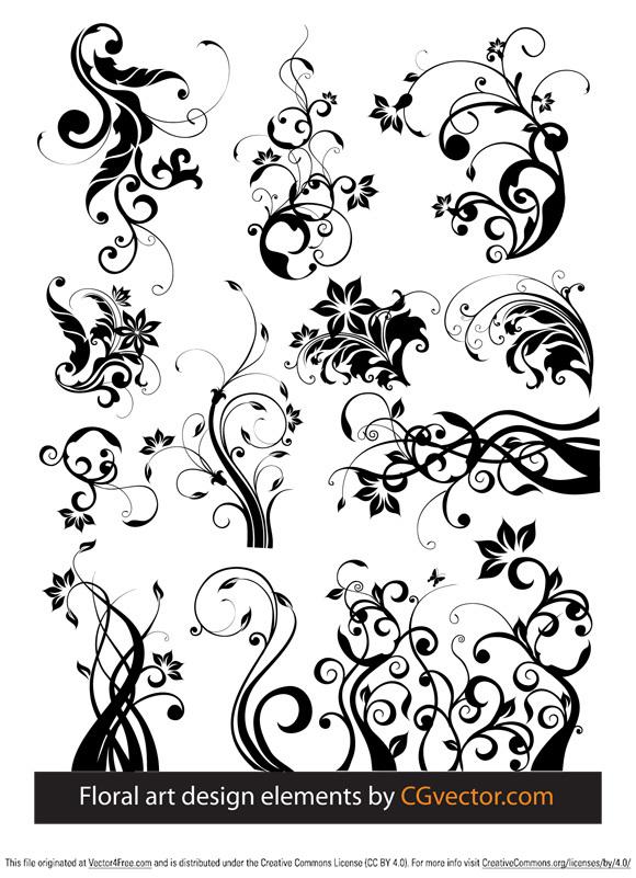 580x801 Floral Art Design Elements