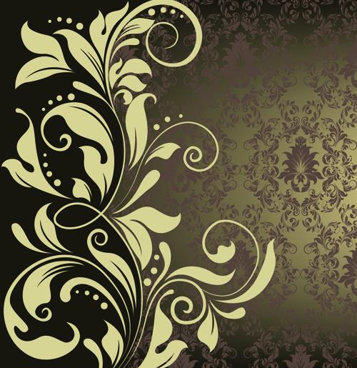 500x515 Ornate Vintage Floral Vector Backgrounds Art 05 Free Download