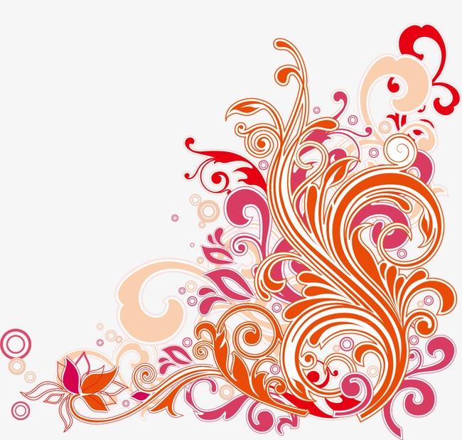 650x619 Swirl Floral Design Vector Art, Vector Pattern, Red Pattern