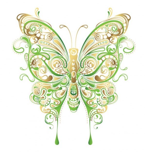 597x626 Abstract Floral Butterfly Vector Art Vector Free Download