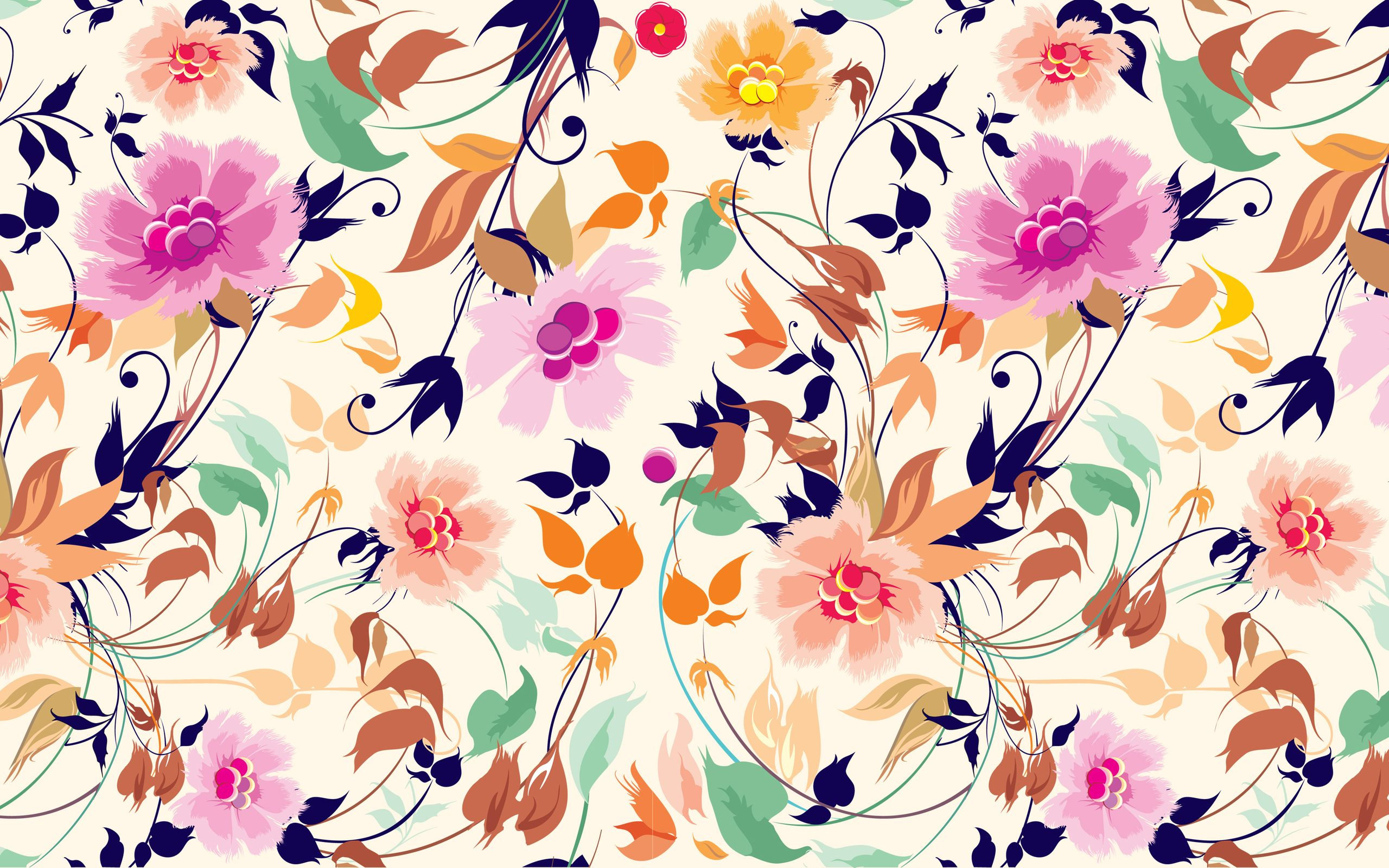 2560x1600 Vector Floral Art Background