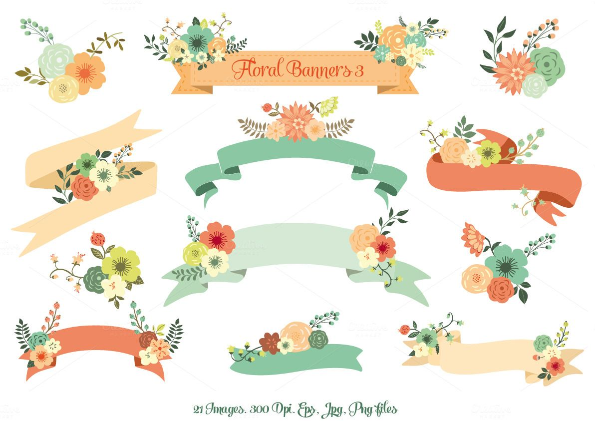 1192x843 Floral Banners Iii. Vector Set By Delagrafica On Creative Market