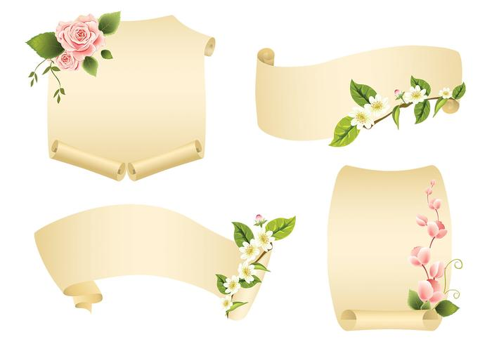 700x490 Floral Scroll Banner Vector Pack