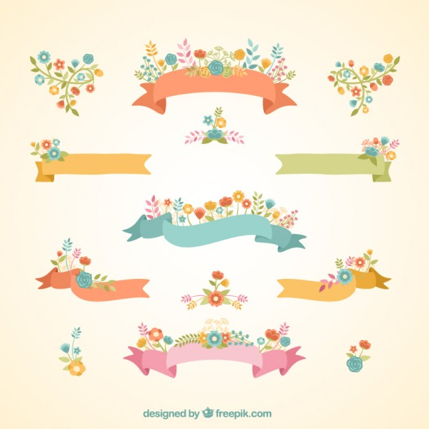 626x626 Floral Ribbon Banners Vector Free Download