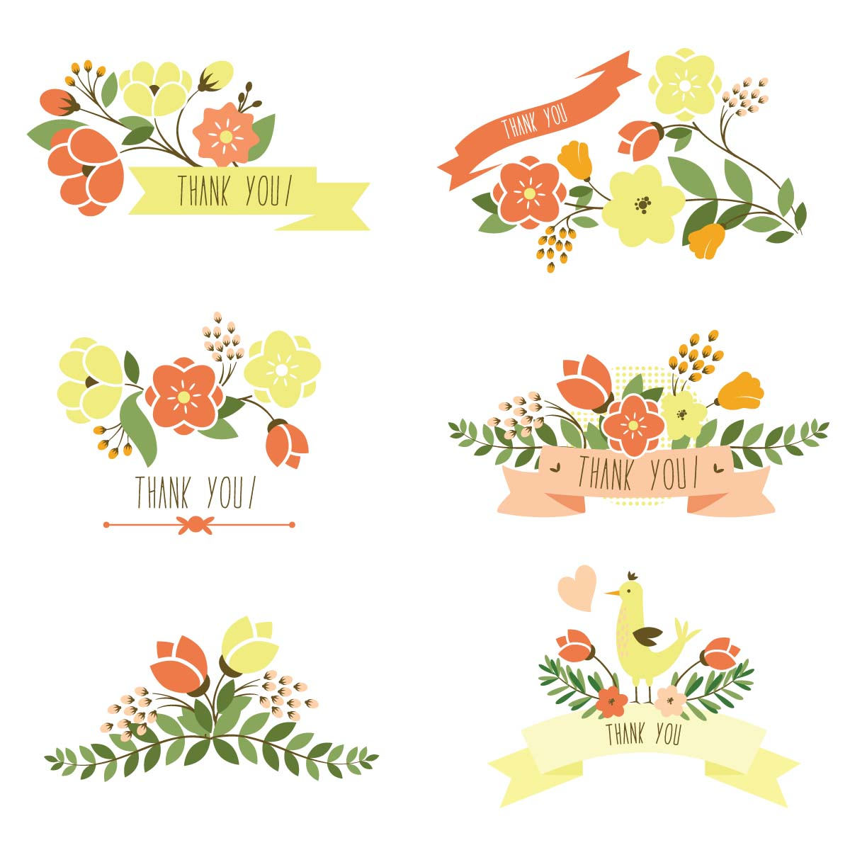 1200x1200 Floral Thank You Banner Set Vector Free Download