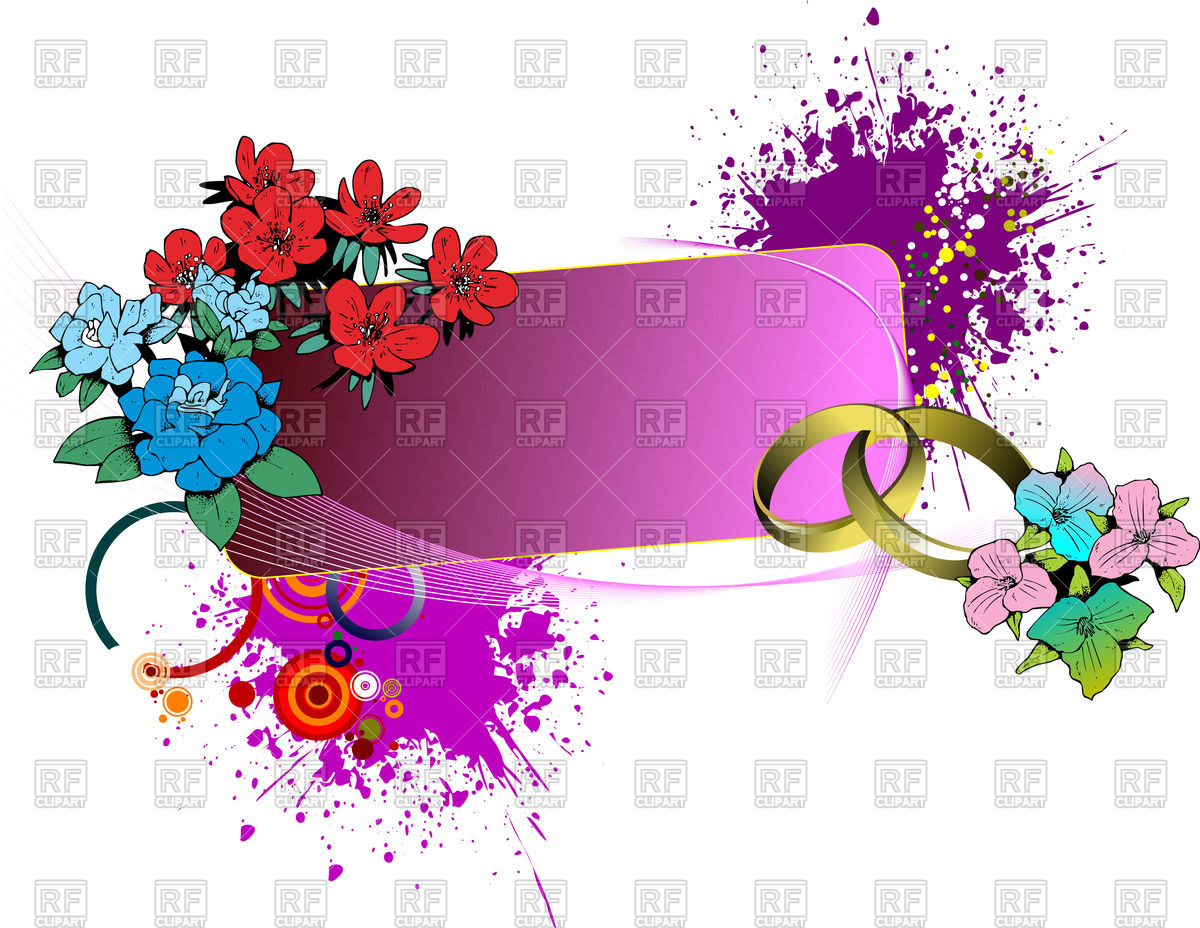 1200x928 Floral Wedding Banner With Rings And Paint Blobs Vector Image