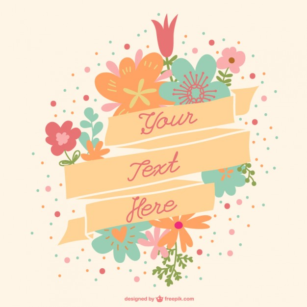 626x626 Flowers With Message In A Ribbon Vector Free Download